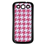 HOUNDSTOOTH1 WHITE MARBLE & PINK DENIM Samsung Galaxy S3 Back Case (Black) Front