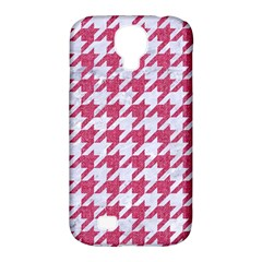 Houndstooth1 White Marble & Pink Denim Samsung Galaxy S4 Classic Hardshell Case (pc+silicone) by trendistuff