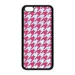 HOUNDSTOOTH1 WHITE MARBLE & PINK DENIM Apple iPhone 5C Seamless Case (Black) Front