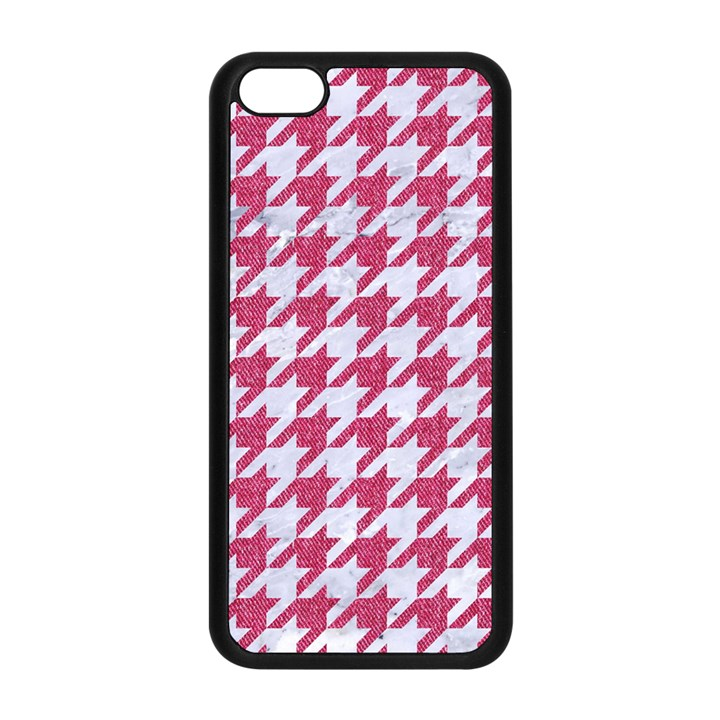 HOUNDSTOOTH1 WHITE MARBLE & PINK DENIM Apple iPhone 5C Seamless Case (Black)