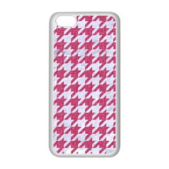 Houndstooth1 White Marble & Pink Denim Apple Iphone 5c Seamless Case (white) by trendistuff