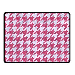 Houndstooth1 White Marble & Pink Denim Double Sided Fleece Blanket (small)  by trendistuff
