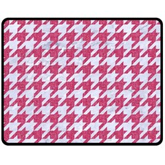 Houndstooth1 White Marble & Pink Denim Double Sided Fleece Blanket (medium)  by trendistuff
