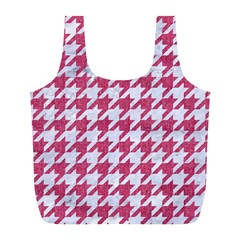 Houndstooth1 White Marble & Pink Denim Full Print Recycle Bags (l)  by trendistuff