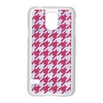 HOUNDSTOOTH1 WHITE MARBLE & PINK DENIM Samsung Galaxy S5 Case (White) Front