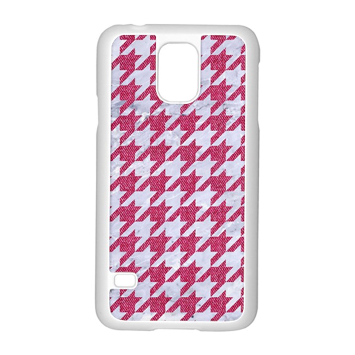HOUNDSTOOTH1 WHITE MARBLE & PINK DENIM Samsung Galaxy S5 Case (White)