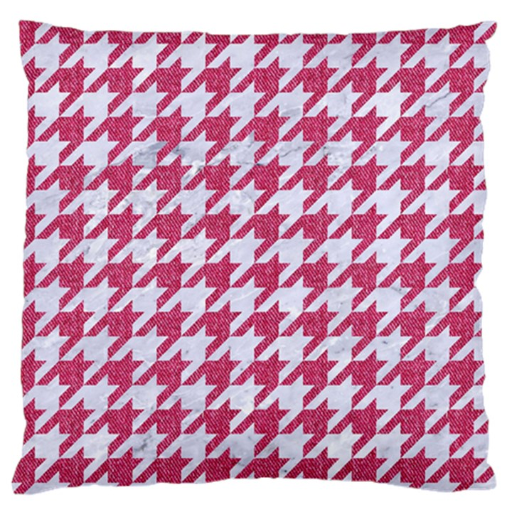 HOUNDSTOOTH1 WHITE MARBLE & PINK DENIM Standard Flano Cushion Case (One Side)