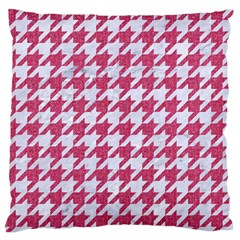 Houndstooth1 White Marble & Pink Denim Large Flano Cushion Case (two Sides)