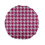 HOUNDSTOOTH1 WHITE MARBLE & PINK DENIM Standard 15  Premium Flano Round Cushions Back