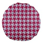 HOUNDSTOOTH1 WHITE MARBLE & PINK DENIM Large 18  Premium Flano Round Cushions Back