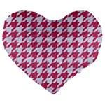 HOUNDSTOOTH1 WHITE MARBLE & PINK DENIM Large 19  Premium Flano Heart Shape Cushions Front