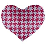 HOUNDSTOOTH1 WHITE MARBLE & PINK DENIM Large 19  Premium Flano Heart Shape Cushions Back