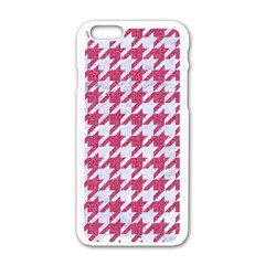 Houndstooth1 White Marble & Pink Denim Apple Iphone 6/6s White Enamel Case