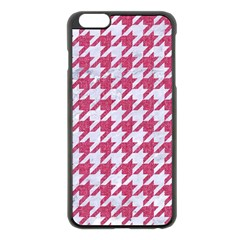 Houndstooth1 White Marble & Pink Denim Apple Iphone 6 Plus/6s Plus Black Enamel Case