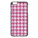 HOUNDSTOOTH1 WHITE MARBLE & PINK DENIM Apple iPhone 6 Plus/6S Plus Black Enamel Case Front