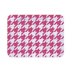 Houndstooth1 White Marble & Pink Denim Double Sided Flano Blanket (mini)  by trendistuff
