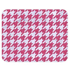 Houndstooth1 White Marble & Pink Denim Double Sided Flano Blanket (medium)