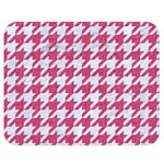 HOUNDSTOOTH1 WHITE MARBLE & PINK DENIM Double Sided Flano Blanket (Medium)  60 x50  Blanket Back