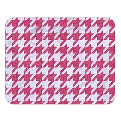 Houndstooth1 White Marble & Pink Denim Double Sided Flano Blanket (large)  by trendistuff