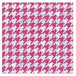 HOUNDSTOOTH1 WHITE MARBLE & PINK DENIM Large Satin Scarf (Square) Front