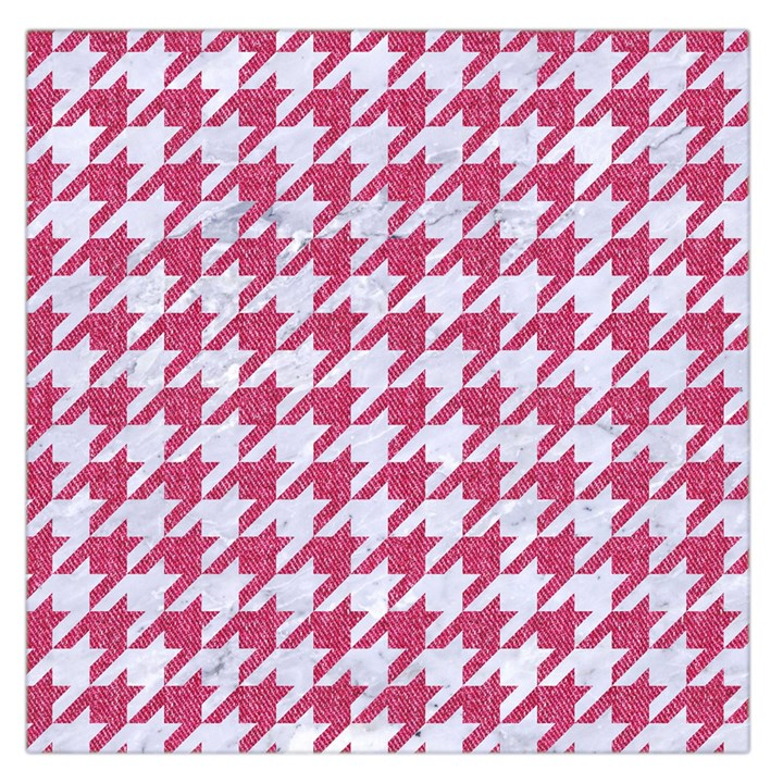 HOUNDSTOOTH1 WHITE MARBLE & PINK DENIM Large Satin Scarf (Square)