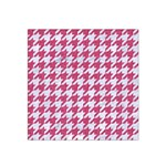HOUNDSTOOTH1 WHITE MARBLE & PINK DENIM Satin Bandana Scarf Front