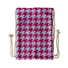 Houndstooth1 White Marble & Pink Denim Drawstring Bag (small)