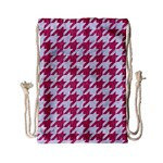 HOUNDSTOOTH1 WHITE MARBLE & PINK DENIM Drawstring Bag (Small) Back