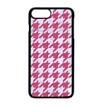 HOUNDSTOOTH1 WHITE MARBLE & PINK DENIM Apple iPhone 8 Plus Seamless Case (Black) Front
