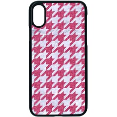 Houndstooth1 White Marble & Pink Denim Apple Iphone X Seamless Case (black) by trendistuff