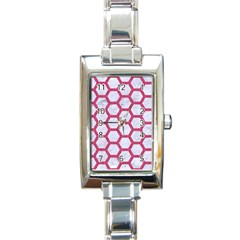 HEXAGON2 WHITE MARBLE & PINK DENIM (R) Rectangle Italian Charm Watch