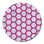 HEXAGON2 WHITE MARBLE & PINK DENIM (R) Round Mousepads Front