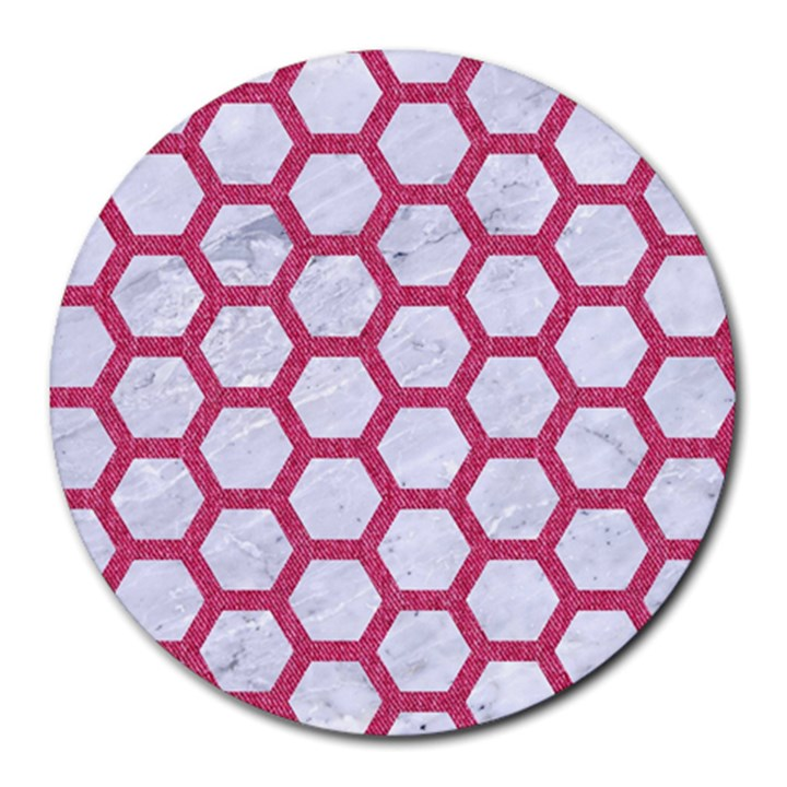 HEXAGON2 WHITE MARBLE & PINK DENIM (R) Round Mousepads