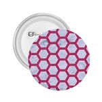HEXAGON2 WHITE MARBLE & PINK DENIM (R) 2.25  Buttons Front