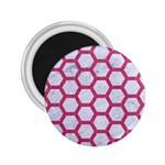 HEXAGON2 WHITE MARBLE & PINK DENIM (R) 2.25  Magnets Front