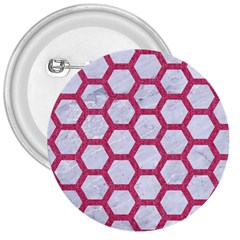 HEXAGON2 WHITE MARBLE & PINK DENIM (R) 3  Buttons