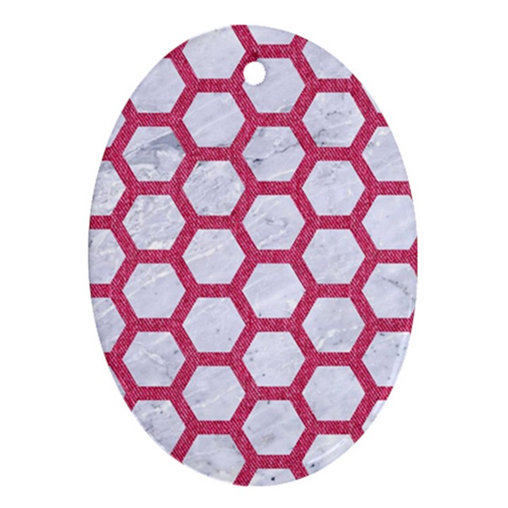 HEXAGON2 WHITE MARBLE & PINK DENIM (R) Ornament (Oval)