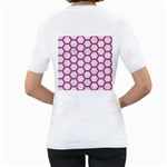 HEXAGON2 WHITE MARBLE & PINK DENIM (R) Women s T-Shirt (White) (Two Sided) Back