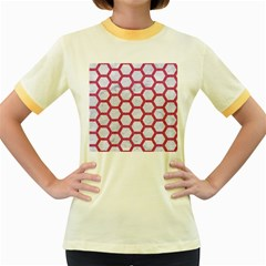 HEXAGON2 WHITE MARBLE & PINK DENIM (R) Women s Fitted Ringer T-Shirts