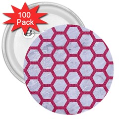 HEXAGON2 WHITE MARBLE & PINK DENIM (R) 3  Buttons (100 pack)