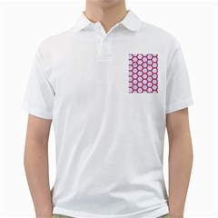 Hexagon2 White Marble & Pink Denim (r) Golf Shirts