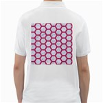 HEXAGON2 WHITE MARBLE & PINK DENIM (R) Golf Shirts Back