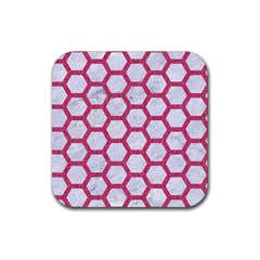 HEXAGON2 WHITE MARBLE & PINK DENIM (R) Rubber Coaster (Square)