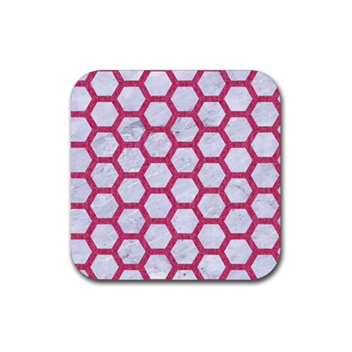 HEXAGON2 WHITE MARBLE & PINK DENIM (R) Rubber Square Coaster (4 pack)
