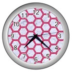 HEXAGON2 WHITE MARBLE & PINK DENIM (R) Wall Clocks (Silver)  Front