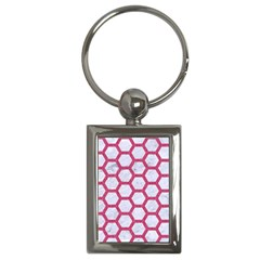 HEXAGON2 WHITE MARBLE & PINK DENIM (R) Key Chains (Rectangle)