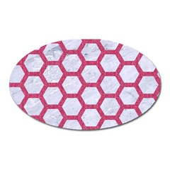 HEXAGON2 WHITE MARBLE & PINK DENIM (R) Oval Magnet