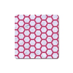 Hexagon2 White Marble & Pink Denim (r) Square Magnet by trendistuff