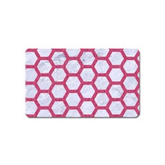 Hexagon2 White Marble & Pink Denim (r) Magnet (name Card)