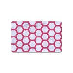 HEXAGON2 WHITE MARBLE & PINK DENIM (R) Magnet (Name Card) Front